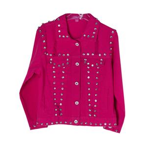 Куртка джинсовая (15-23)-рванка, с клепками-камнями малиновый хлопок 783479