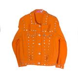 Куртка джинсовая (15-23)-рванка, с клепками-камнями оранжевый хлопок 783479