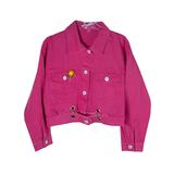 Куртка джинсовая (15-23)-укороченная, брелок-подсолнух малиновый 1 783627