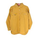 Рубашка (15-23)-на кнопках, с потертостями, брелок- улитка горчица 1 783666-1