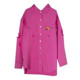 Рубашка (15-23)-на кнопках, с потертостями, брелок- улитка малиновый 1 783666-1