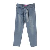 Джинсы (15-23)-вываренные, с потертостями, накладной карман с клапаном, пояс со стразами голубой 1 783487