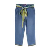 Джинсы (15-23)-на резинке с ярким поясом, вываренные, с отворотами голубой 783596-1