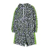 Комплект (3-11)-леопард, кофта с капюшёном и лампасами +шорты высокие салатный 768367+768368