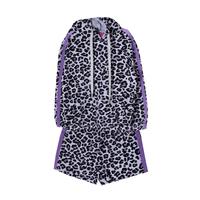 Комплект (3-11)-леопард, кофта с капюшёном и лампасами +шорты высокие сиреневый 768367+768368