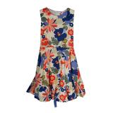 Платье (13-21)-синие крупные цветы, синий атласный пояс, рюша по низу+заколка коралл/синий 783605