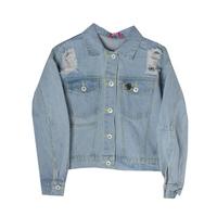 Куртка джинсовая (15-23)-укороченная, с дырками, сзади надпись из страз, брелок-кактус голубой 1 783664