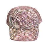 Кепка -вязанная крючком , с камнями розовый хлопок 0028