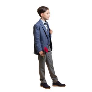 Костюм (6-9)-3-ка, мелкая клеточка,брюки серые с кантом на кармане Синий/серый 4078/4079-1