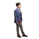 Костюм (10-14)-3-ка, мелкая клеточка,брюки серые с кантом на кармане Синий/серый 4078/4079-1