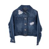 Куртка джинсовая (98-130)-с бахромой и  ромашками на воротнике и кармане голубой 184565