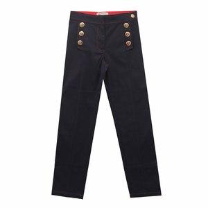 Брюки (122-162)-с золотыми пуговицами на карманах, красной отстрочкой синий 318065-С