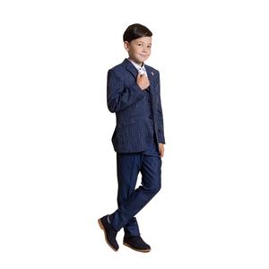 Костюм (6-9)-3-ка,пиджак белая полоса, жилет мелкая клетка, аксессуар перо синий 4065/4066-1