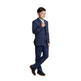 Костюм (10-14)-3-ка,пиджак белая полоса, жилет мелкая клетка, аксессуар перо синий 4065/4066-1