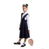 Школьная форма Сарафан (7-18)- со встречными складками, с потайными карманами, на 2-х лямках синий габардин 70857