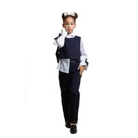 Школьная форма Блузка (15-23)-д/р,с синей лентой на рукаве+жилет укороченный, с боку на хлястиках синий 768210