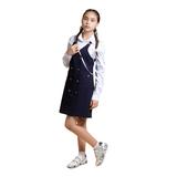 Школьная форма Сарафан (9-18)-прямого фасона, с запахом на стальных пуговицах, с 2-мя накладными карманами синий габардин 70887