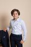 Школьная форма Костюм (6-14)-2-ка широкие лекала, с платочком, на воротнике ручная отстрочка, с 3-мя прорезными карманами синий 2039/2040-1