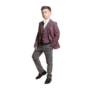 Костюм (10-14)-3-ка, мелкая клеточка,брюки серые с кантом на кармане бордо/серый 4078/4079-2