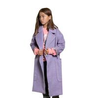 Пальто (S)- с большими накладными карманами, потайными кнопками, на спинке- иммитация пояса сиреневый 184012