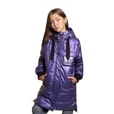 Куртка (130-170)-капюшон со шнурком, на плече и на кармане буквы, украшенные бисером и стразами фиолетовый биопух 2082