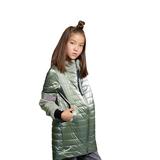 Пальто (116-140)-бочонок, комбинированные рукава и воротник из искусственного меха, вставки из мелких камешков оливковый перламутр сентипон 2019
