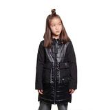 Пальто (140-164)-комбинированное,с накладными карманами из принтованной ленты, серебристый капюшён внутри чёрный сентипон 2015