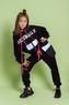 Костюм спортивный (8-15)-укороченный верх с капюшоном, спереди карман с клапаном, с надписью и шнурком, брюки  на манжете, со съемным карманом на молнии черный 20130
