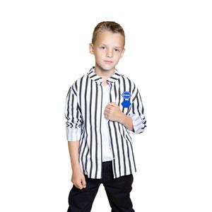Рубашка (2-15)-д/р, воротник-стойка, в черную полоску с эмблемой, на спине синий принт белый/черный 4439