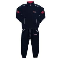 Костюм спортивный (122-152)-,брюки на манжете,воротник стойка с красной отделкой синий хлопок 11016