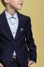 Школьная форма Костюм (6-14)-2-ка классика, с платочком, с двойной выточкой и 2-мя карманами с клапанами синий 444/445-1