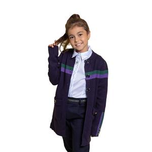 Школьная форма Кардиган (130-165)-на  пуговицах,с карманами и поясом, зелёная и сиреневая полоска синий 2013