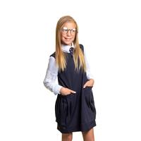 Школьная форма Сарафан (5-12)-прямого кроя, с обьемными карманами в складку по бокам синий габардин 70842