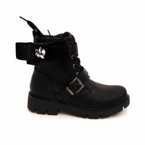 Ботинки (31-38)- высокие на толстой подошве, на шнурке и замке с кожаными хлястиками, бархатныый бант с камнями черный кожа 46696
