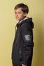Куртка (140-164)-с капюшоном в стиле милитари, на рукаве эмлема с переливом на липучке черный биопух 8809