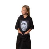 Платье (8-15)-к/р, с капюшоном, принт - девушка, с большим карманом на молнии, снизу резинка с полосками из люрекса черный 20124