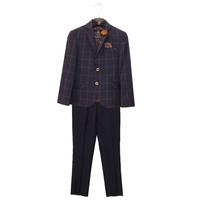 Костюм (6-9) - 4-ка, пиджак клетка + жилет + брюки синие + бабочка синий/горчица хлопок 186-1