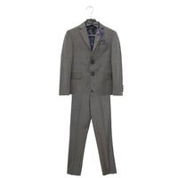 Костюм (6-9) - 4-ка, пиджак клетка + жилет + брюки серые+ бабочка серый/синий хлопок 186-2