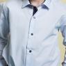 Рубашка (6-14)-д/р,синяя в крапинку отделка внутри воротника и манжета,  на кнопках голубой 97-2