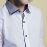 Рубашка (6-14)-д/р, синий воротник и манжеты,вдоль планки кант,  на кнопках белый 1227-1