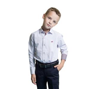 Рубашка (6-14)-д/р,внутри отделка бордовой тканью,  бордовая точечка,лошадка белый хлопок 1088-3