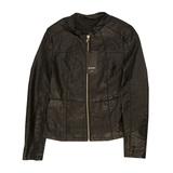 Куртка (M-XL)-удлинённая, воротник стойка, с бордовыми вставками чёрный экокожа 716