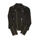 Куртка (M-XL)-косуха, клёпки на воротнике, на рукаве -замок, на спинке-белая надпись с клёпками чёрный экокожа 85025