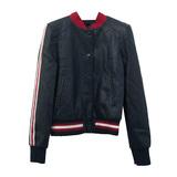 Куртка (34-44)- с красной резинкой и красными лампасами, на клёпках чёрный экокожа 0678