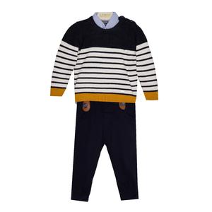 Костюм (9м -24м) 3-ка , кофта полосы +рубашка голубая +брюки т.синие с ремнем горчица хлопок 8966