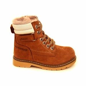 Ботинки (27-30)-Тимберленды на шнуровке, сбоку замок, на меху рыжий нубук 1226-08