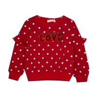 Кофта (98-130)-белый горошек,надпись Love, рюша на спущенном плече красный 681950