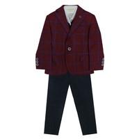 Костюм (1-4)-4-ка, бордовая клетка с шарфом,брюки бордовые синий драп 8364