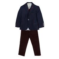 Костюм (1-4)-4-ка, синяя клетка с шарфом,брюки синие бордовый драп 8364