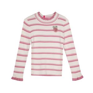 Водолазка (3-11)- полоска,ажурная стойка и рукава, брошка -ушки розовый 288021